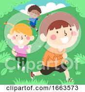 Kids Running Outdoors Illustration
