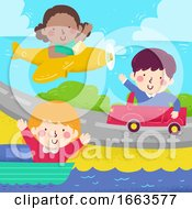 Kids Wave Diff Transportation Illustration