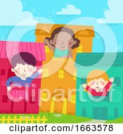 Poster, Art Print Of Kids Wave House Where They Live Illustration