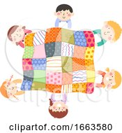 Kids Activity Quilt Top View Illustration