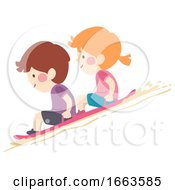Kids Desert Sand Sledding Illustration