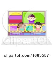 Kids Film Editing Laptop Illustration