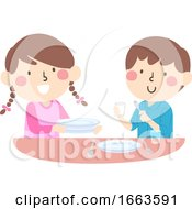 Kids Household Chores Set Table Illustration