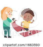 Kids Measure Speed Runner Illustration