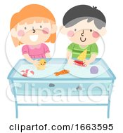 Poster, Art Print Of Kids Play Water Table Illustration