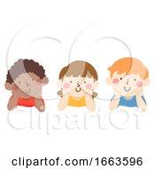 Kids Pose Waiting Illustration