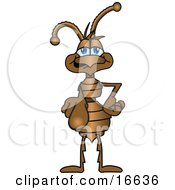 Clipart Picture Of An Ant Bug Mascot Cartoon Character Pointing Outwards To Get Your Attention