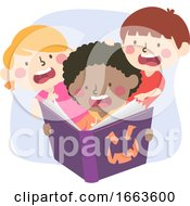 Kids Read Scary Book Illustration
