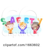 Kids Safety Word Raise Illustration