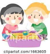 Kids Sensory Scooping Beans Illustration