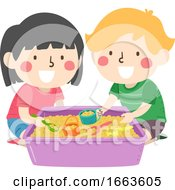 Kids Sensory Scooping Beans Illustration