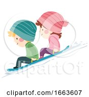 Kids Snow Sledding Illustration