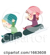 Kids Snow Tubing Illustration