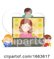 Kids Teacher Laptop Activity Illustration