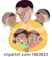 Kids Dad African Hug Illustration