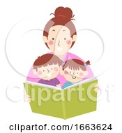 Kids Mom Read Book Storytelling Illustration