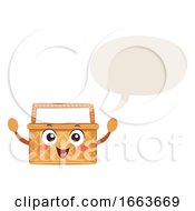 Mascot Picnic Basket Speech Bubble Illustration