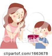 Kid Boy Mom Surprise Birthday Cake Illustration
