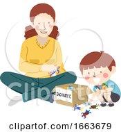 Kid Boy Mother Donate Toys Illustration