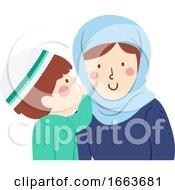Kid Boy Muslim Whisper Mother Illustration