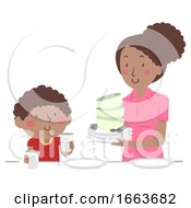 Kid Boy Mom Dining Table Set Up Illustration