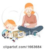 Kid Boy Mother Garage Sale Toys Illustration