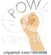 Hand Punch Onomatopoeia Sound Pow Illustration