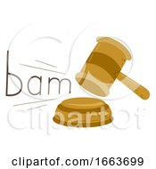 Judge Gavel Onomatopoeia Sound Bam Illustration