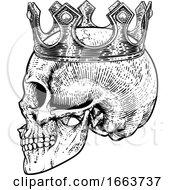 Poster, Art Print Of Skull Crown King Human Royal Skeleton