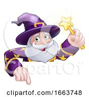 08/22/2019 - Wizard Cartoon Peeking Over Sign Pointing