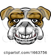 Bulldog Mascot Cute Happy Cartoon Character by AtStockIllustration