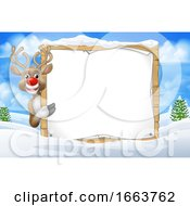 Reindeer Sign Christmas Snow Scene Cartoon