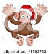 08/22/2019 - Santa Hat Christmas Monkey Cartoon Character