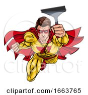 Super Window Cleaner Superhero Holding Squeegee