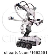 Automaton Containing Flat Elongated Skull Head And Cables And Light Chest Exoshielding And Rubber Chain Sash And Blue Eye Cam Cable Tentacles And Six Wheeler Base