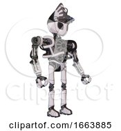 Robot Containing Grey Alien Style Head And Black Eyes And Alien Bug Creature Hat And Heavy Upper Chest And No Chest Plating And Ultralight Foot Exosuit