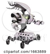 Cyborg Containing Flat Elongated Skull Head And Cables And Heavy Upper Chest And Heavy Mech Chest And Green Energy Core And Insect Walker Legs White Halftone Toon