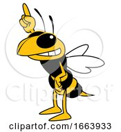 Hornet Or Yellow Jacket School Mascot Character Holding Up A Finger