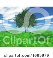 3D Tree In Grassy Landscape