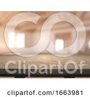 3D Wooden Table Looking Out To An Empty Room