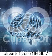 3D Medical Technology Background With Brain On Digital Design