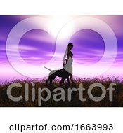3D Female And Her Pet Dog In A Sunset Landscape