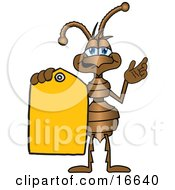 Ant Bug Mascot Cartoon Character Holding Out A Yellow Sales Price Tag