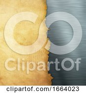 Grunge Paper On A Brushed Metal Background