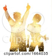 Party Couple On A Gold Confetti Background
