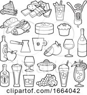Poster, Art Print Of Black And White Food Icons