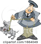 Cartoon Dog Catcher WIth A Pooch On A Leash