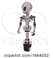 Cyborg Containing Grey Alien Style Head And Green Inset Eyes And Light Chest Exoshielding And No Chest Plating And Unicycle Wheel Sketch Pad Standing Looking Right Restful Pose