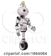 Droid Containing Oval Wide Head And Minibot Ornament And Light Chest Exoshielding And Rubber Chain Sash And Unicycle Wheel White Halftone Toon Facing Left View