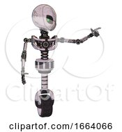 Cyborg Containing Grey Alien Style Head And Green Inset Eyes And Light Chest Exoshielding And No Chest Plating And Unicycle Wheel Sketch Pad Pointing Left Or Pushing A Button
